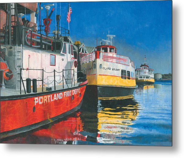 Fireboat And Ferries Metal Print