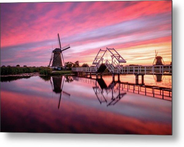 Fired Sky Kinderdijk Metal Print