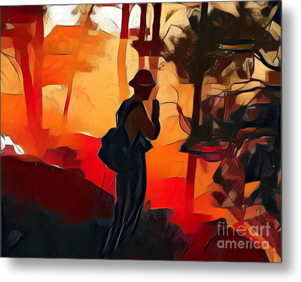 Firefighter On White Draw Fire Metal Print
