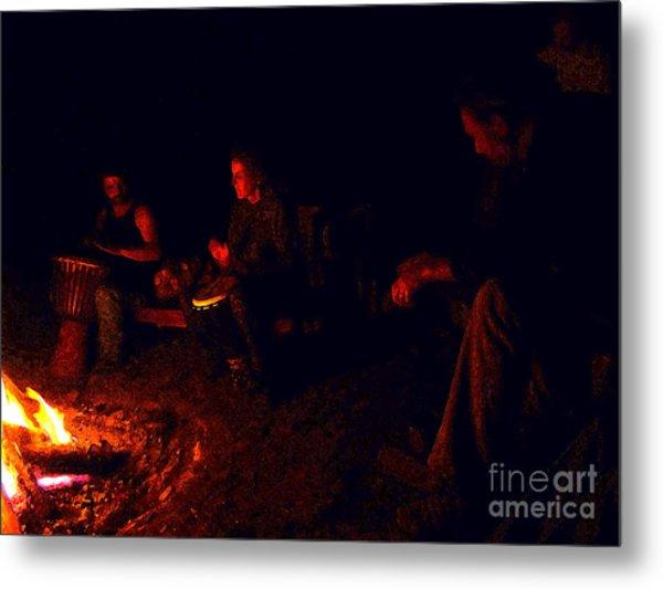 Firelight Drumming Metal Print by JoAnn SkyWatcher