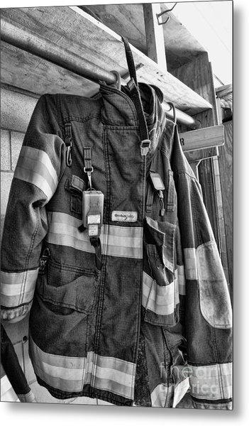 Fireman - Saftey Jacket Black And White Metal Print