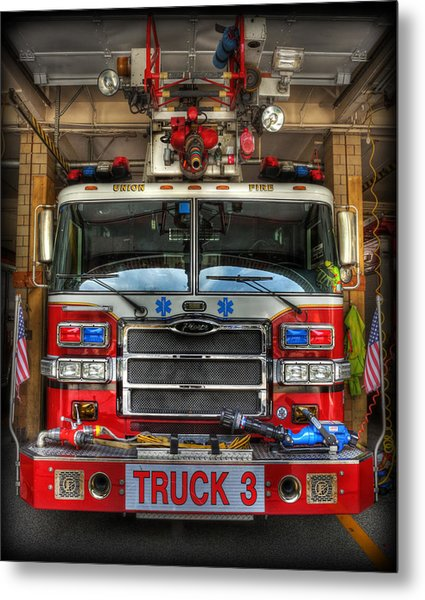 Fireman - Fire Engine Metal Print