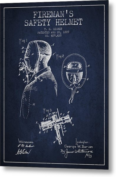 Firemans Safety Helmet Patent From 1889 - Navy Blue Metal Print