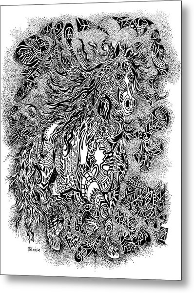 Firestorm In Black And White Metal Print