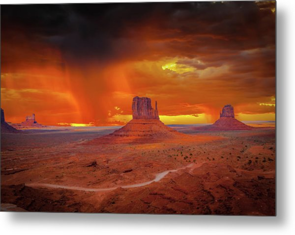 Firestorm Over The Valley Metal Print