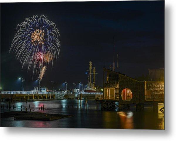 Fireworks And 17th Street Docks Metal Print