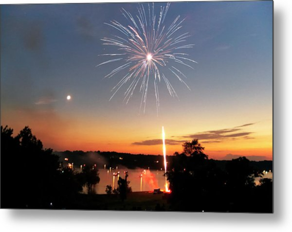 Fireworks And Sunset Metal Print
