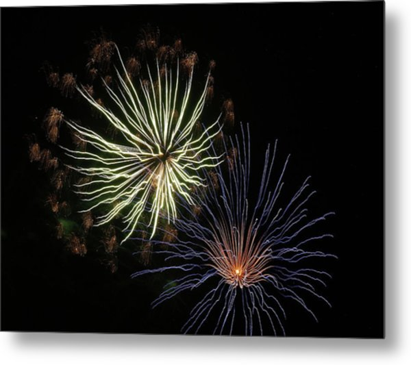 Fireworks From A Boat - 14 Metal Print