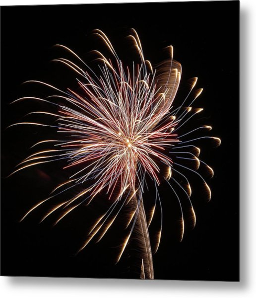 Fireworks From A Boat - 16 Metal Print