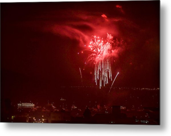 Fireworks In Red And White Metal Print