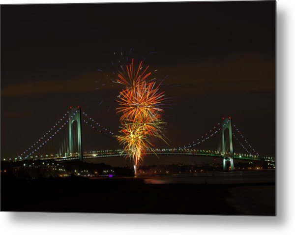 Fireworks Over The Verrazano Narrows Bridge Metal Print