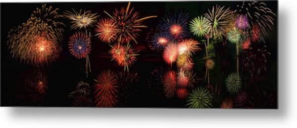 Fireworks Reflection In Water Panorama Metal Print