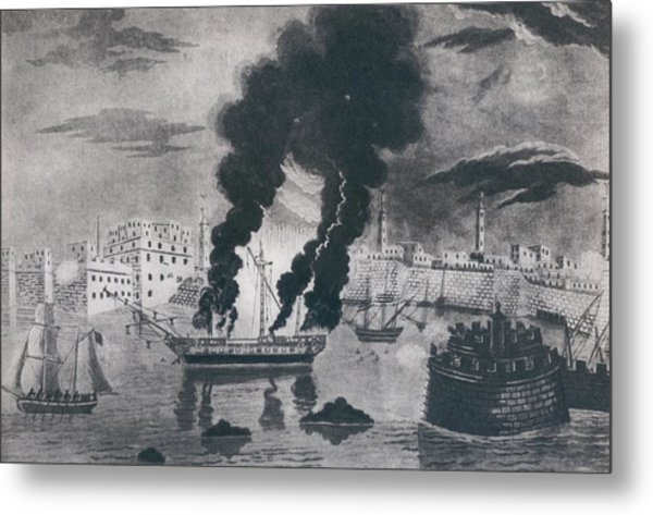 First Barbary War 1801-1805. Burning Metal Print by Everett
