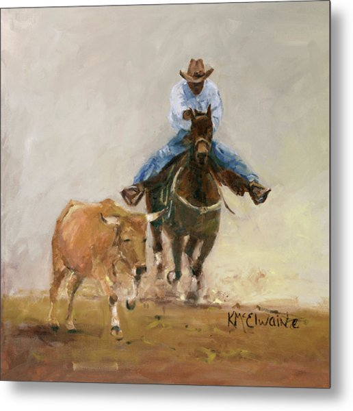 First Bulldogger Bill Picket Oil Painting By Kmcelwaine  Metal Print