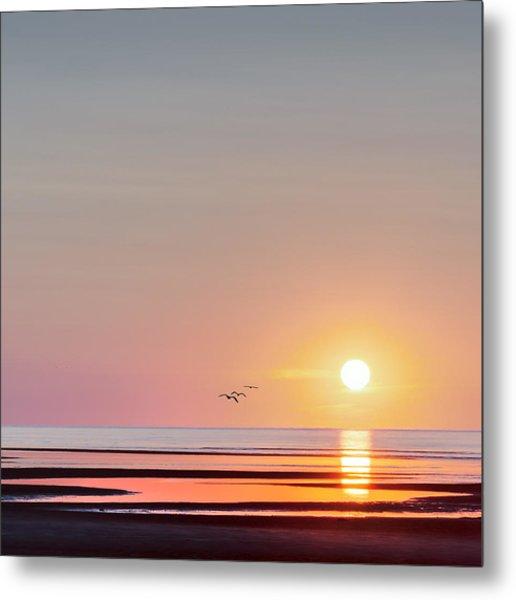 First Encounter Beach Cape Cod Square Metal Print