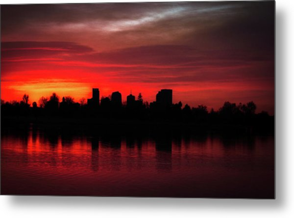 First Light In Denver Metal Print