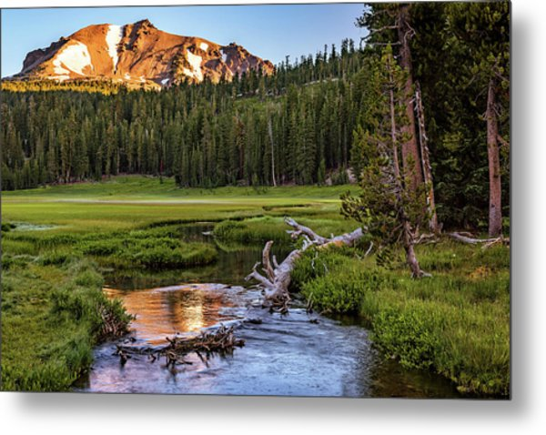 First Light On Lassen From Upper Meadow Metal Print