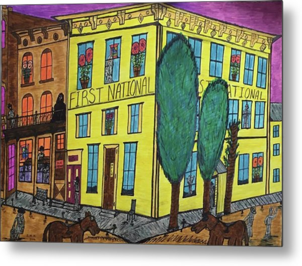 First National Hotel. Historic Menominee Art. Metal Print
