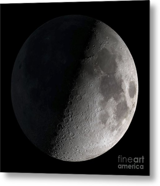 Metal Print featuring the photograph First Quarter Moon by Stocktrek Images