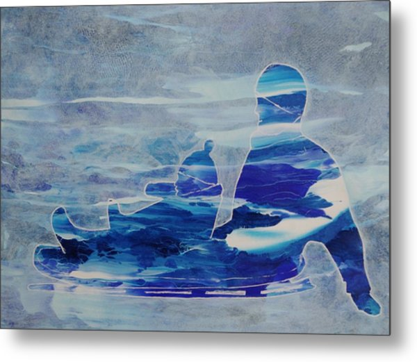First Sled Ride Metal Print