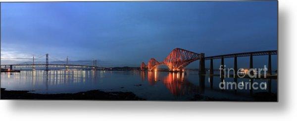 Firth Of Forth Bridges At Twilight - Panorama Metal Print by Maria Gaellman