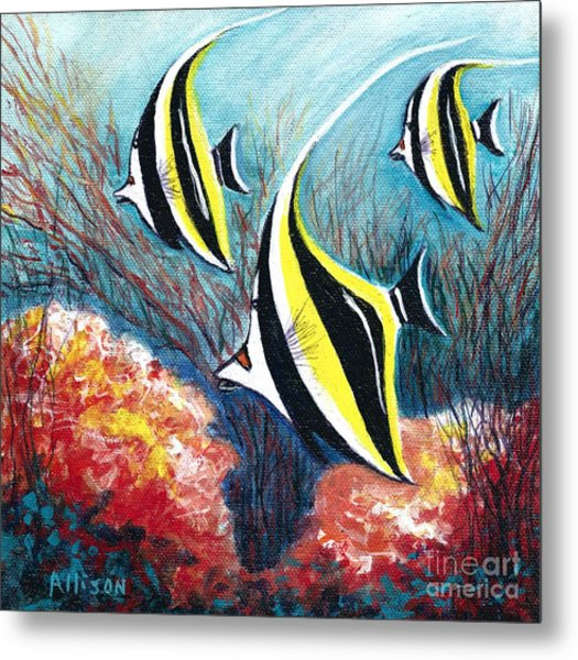Moorish Idol Fish And Coral Reef Metal Print