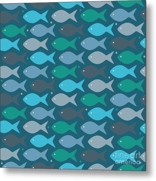 Fish Blue  Metal Print