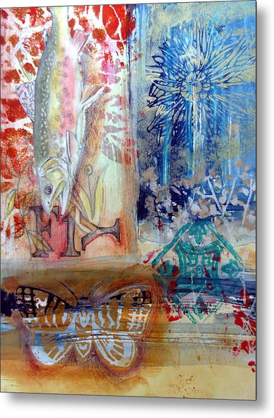 Metal Print featuring the mixed media Fish Collage #1 by Rose Legge