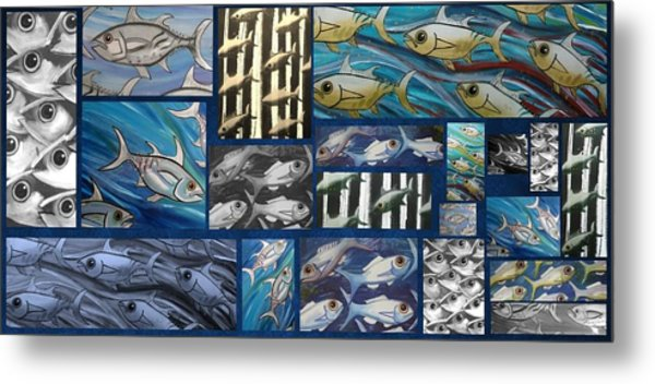 Fish Collage Metal Print