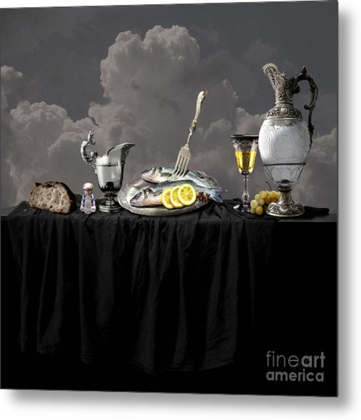 Fish Diner In Silver Metal Print