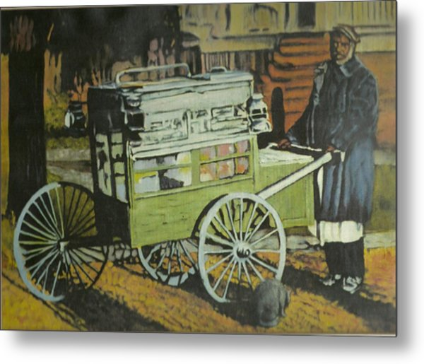 Fish Peddler Metal Print by Perry Ashe