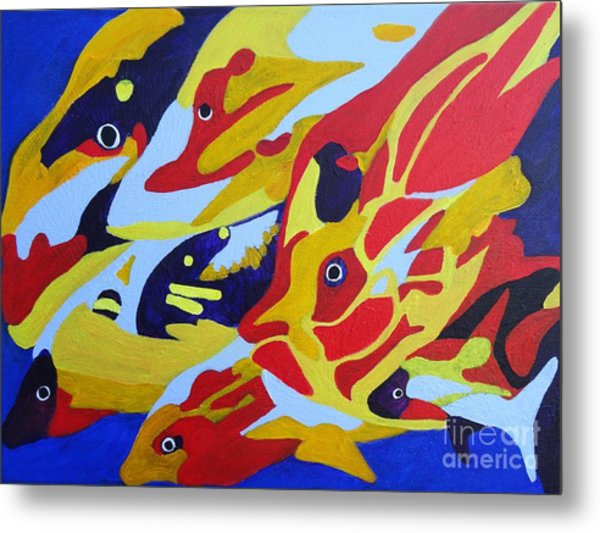 Fish Shoal Abstract 2 Metal Print