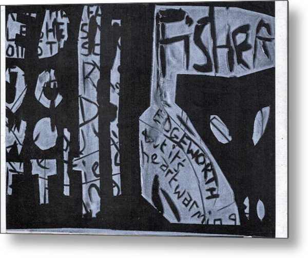 Fisher Covers White On Black Metal Print