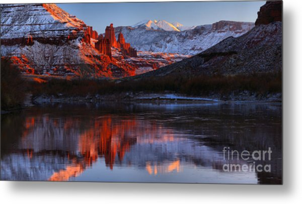 Fisher Towers Colorado River Reflections Panorama Metal Print