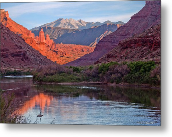 Fisher Towers Sunset Reflection Metal Print
