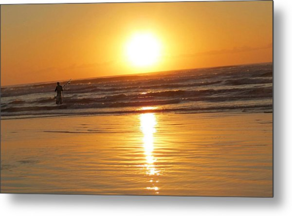 Fisherman At Sunrise Metal Print