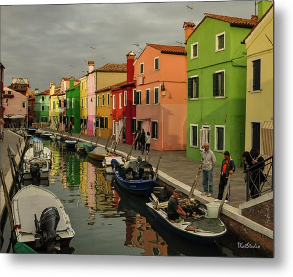 Fisherman At Work In Colorful Burano Metal Print