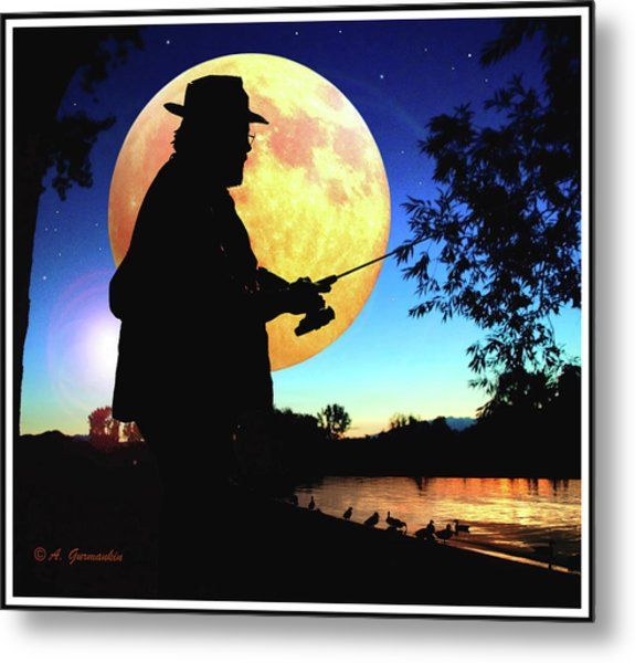 Fisherman In The Moolight Metal Print