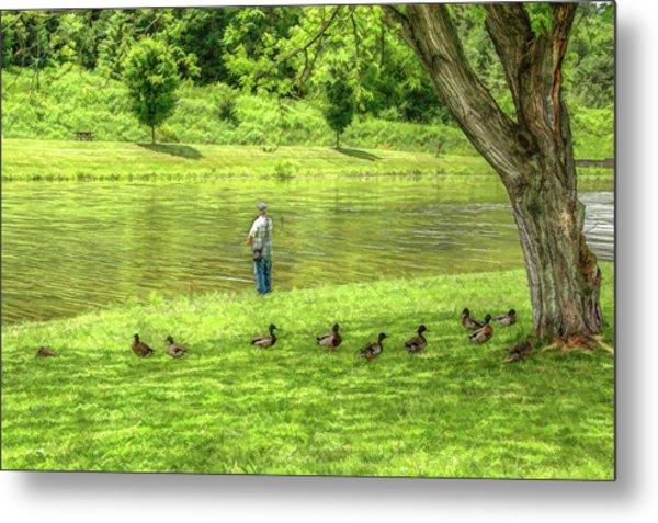 Fisherman Lazy Day At The Lake Metal Print by Randy Steele