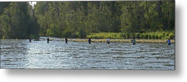 Fisherman Lineup Kenai River Metal Print by Mary Gaines