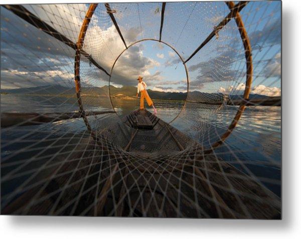 Fisherman On Inle Lake Metal Print