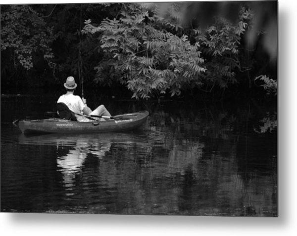 Fisherman On Lady Bird Lake - Bw Metal Print
