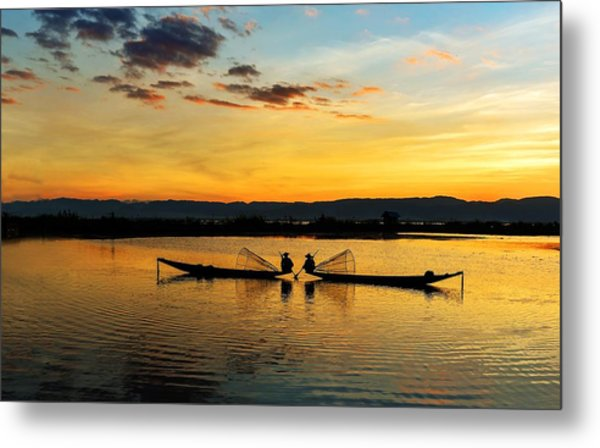 Metal Print featuring the photograph Fisherman On Their Boat by Pradeep Raja Prints