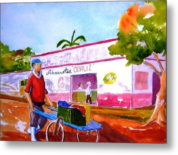 Fisherman With Bike Cart Metal Print by Buster Dight