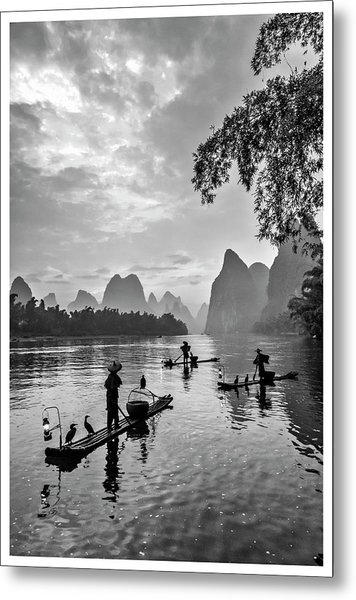 Fishermen At Dawn. Metal Print