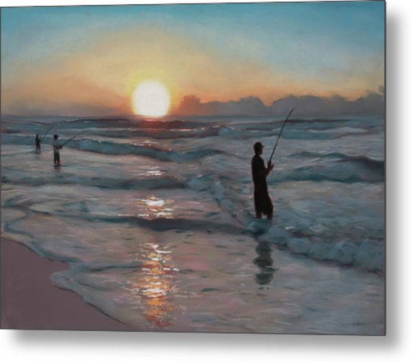 Fishermen At Sunrise Metal Print