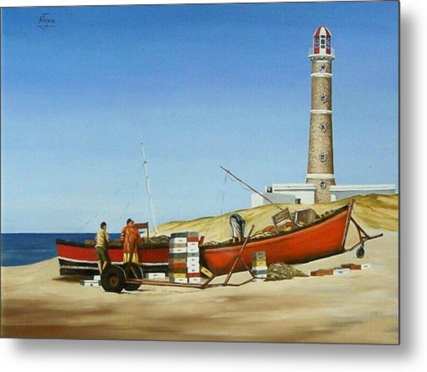Fishermen By Lighthouse Metal Print
