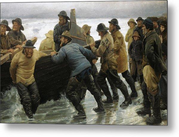 Fishermen Launching A Rowing Boat 1881 Metal Print