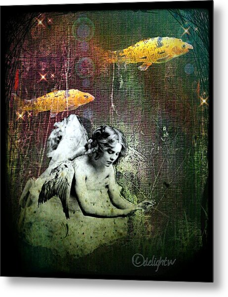 Metal Print featuring the digital art Fishes Wings by Delight Worthyn
