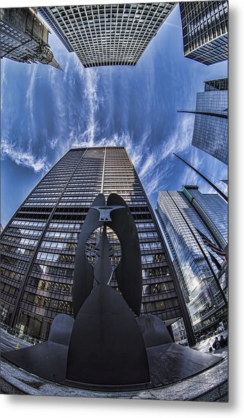 Fisheye View Of Chicago's Picasso Metal Print
